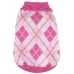 Pet Life Argyle Style Ribbed Fashion Pet Sweater: X-Small, Pink Argyle