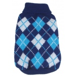 Pet Life Argyle Style Ribbed Fashion Pet Sweater: Small, Black/Blue Argyle