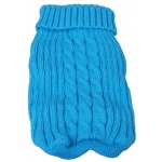 Pet Life Heavy Cotton Rib-Collared Pet Sweater: Small, Light Blue