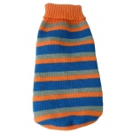 Pet Life Heavy Cable Knit Striped Fashion Polo Dog Sweater: Large, Orange, Blue and Grey