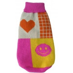 Pet Life Lovable-Bark Heavy Knit Ribbed Fashion Pet Sweater: Large, Pink, Orange, White and Yellow