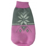 Pet Life Snow Flake Cable-Knit Ribbed Fashion Turtle Neck Dog Sweater: X-Small, Pink and Grey