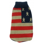Pet Life Patriot Independence Star Heavy Knitted Fashion Ribbed Turtle Neck Dog Sweater: Small, Red, Beige and Blue
