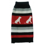 Pet Life Dog Patterned Stripe Fashion Ribbed Turtle Neck Pet Sweater: X-Small, Red, Black and Grey
