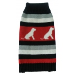 Pet Life Dog Patterned Stripe Fashion Ribbed Turtle Neck Pet Sweater: Large, Red, Black and Grey