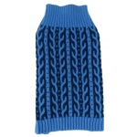 Pet Life Harmonious Dual Color Weaved Heavy Cable Knitted Fashion Designer Dog Sweater: X-Small, Aqua Blue and Dark Blue