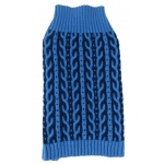 Pet Life Harmonious Dual Color Weaved Heavy Cable Knitted Fashion Designer Dog Sweater: Small, Aqua Blue and Dark Blue