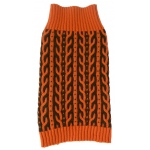Pet Life Harmonious Dual Color Weaved Heavy Cable Knitted Fashion Designer Dog Sweater: Small, Orange and Brown