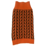 Pet Life Harmonious Dual Color Weaved Heavy Cable Knitted Fashion Designer Dog Sweater: Medium, Orange and Brown