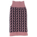 Pet Life Harmonious Dual Color Weaved Heavy Cable Knitted Fashion Designer Dog Sweater: X-Small, Pink and Navy Blue
