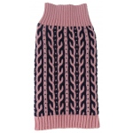 Pet Life Harmonious Dual Color Weaved Heavy Cable Knitted Fashion Designer Dog Sweater: Small, Pink and Navy Blue