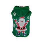Pet Life LED Lighting Hands-Up-Santa Hooded Sweater Pet Costume: X-Small, Green