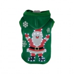 Pet Life LED Lighting Hands-Up-Santa Hooded Sweater Pet Costume: Small, Green
