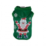 Pet Life LED Lighting Hands-Up-Santa Hooded Sweater Pet Costume: Medium, Green