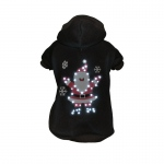 Pet Life LED Lighting Juggling Santa Hooded Sweater Pet Costume: X-Small, Black