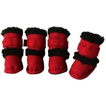 "Pet Life Shearling ""Duggz"" Pet Shoes: Medium, Red & Black"