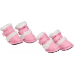 "Pet Life Shearling ""Duggz"" Pet Shoes: Medium, Pink & White"