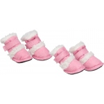 "Pet Life Shearling ""Duggz"" Pet Shoes: Large, Pink & White"