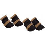 "Pet Life Shearling ""Duggz"" Pet Shoes: Large, Black & Brown"