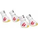 Pet Life Flexible Air-Mesh Lightweight Pet Shoes Sneakers: Large, White & Red
