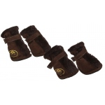 Pet Life Fashion Plush Premium Fur-Comfort Suede Supportive Pet Shoes: Small, Dark Brown
