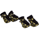 Pet Life Fashion Plush Premium Fur-Comfort Pvc Waterproof Supportive Pet Shoes: Small, Black & Yellow