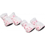 Pet Life Fashion Plush Premium Fur-Comfort Pvc Waterproof Supportive Pet Shoes: X-Small, Pink & White