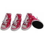 Pet Life Extreme-Skater Canvas Casual Grip Pet Sneaker Shoes - Set Of 4: X-Small, Pink/Polka