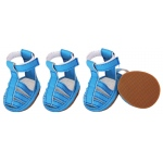 Pet Life Buckle-Supportive Pvc Waterproof Pet Sandals Shoes - Set Of 4: Large, Ocean Blue