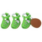 Pet Life Buckle-Supportive Pvc Waterproof Pet Sandals Shoes - Set Of 4: Large, Neon Green
