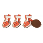 Pet Life Buckle-Supportive Pvc Waterproof Pet Sandals Shoes - Set Of 4: X-Small, Orange