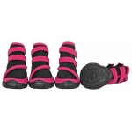 Pet Life Performance-Coned Premium Stretch Supportive Pet Shoes - Set Of 4: X-Small, Black/Pink