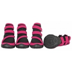 Pet Life Performance-Coned Premium Stretch Supportive Pet Shoes - Set Of 4: Medium, Black/Pink