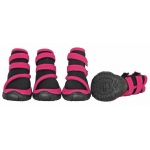 Pet Life Performance-Coned Premium Stretch Supportive Pet Shoes - Set Of 4: Large, Black/Pink