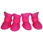 Pet Life Elastic Protective Multi-Usage All-Terrain Rubberized Dog Shoes: X-Small, Pink