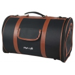 Pet Life Airline Approved Fashion Cylinder Posh Pet Carrier: One Size, Black/Brown