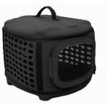 Pet Life Circular Shelled Perforate Lightweight Collapsible Military Grade Transporter Pet Carrier: One Size, Charcoal Black