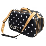 Pet Life Pet Life Fashion Dotted Venta-Shell Perforated Collapsible Military Grade Designer Pet Carrier: One Size, Navy Blue, White