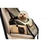 Pet Life Ultra-Lock' Collapsible Safety Travel Wire Folding Pet Car Seat Carrier: One Size, Khaki