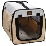 Pet Life Folding Zippered Lightweight Easy Folding Pet Crate: X-Small, Khaki