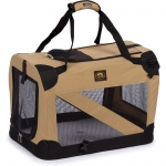 Pet Life Folding Zippered 360° Vista View House Pet Crate: Small, Khaki