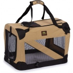 Pet Life Folding Zippered 360° Vista View House Pet Crate: Medium, Khaki