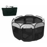 Pet Life All-Terrain' Lightweight Easy Folding Wire-Framed Collapsible Travel Pet Playpen: Medium, Black And White