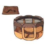 Pet Life All-Terrain' Lightweight Easy Folding Wire-Framed Collapsible Travel Pet Playpen: Medium, Brown And Orange