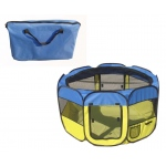 Pet Life All-Terrain' Lightweight Easy Folding Wire-Framed Collapsible Travel Pet Playpen: Large, Light Blue And Light Yellow