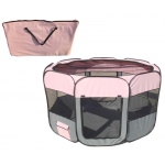 Pet Life All-Terrain' Lightweight Easy Folding Wire-Framed Collapsible Travel Pet Playpen: Medium, Pink And Grey