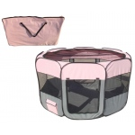 Pet Life All-Terrain' Lightweight Easy Folding Wire-Framed Collapsible Travel Pet Playpen: Large, Pink And Grey