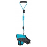 Touchdog Reflective-Max 2-in-1 Premium Performance Adjustable Dog Harness and Leash: Small, Turquoise Blue, Charcoal Grey