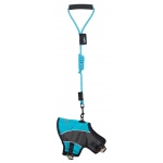 Touchdog Reflective-Max 2-in-1 Premium Performance Adjustable Dog Harness and Leash: Medium, Turquoise Blue, Charcoal Grey