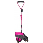 Touchdog Reflective-Max 2-in-1 Premium Performance Adjustable Dog Harness and Leash: Medium, Pink, Charcoal Grey